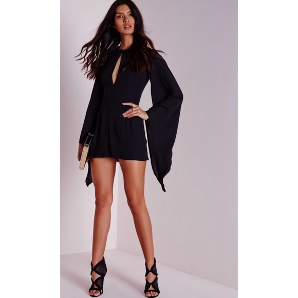 69718485d1da Express Dresses   Skirts - Chic Express Black Cape Sleeve Kimono Romper